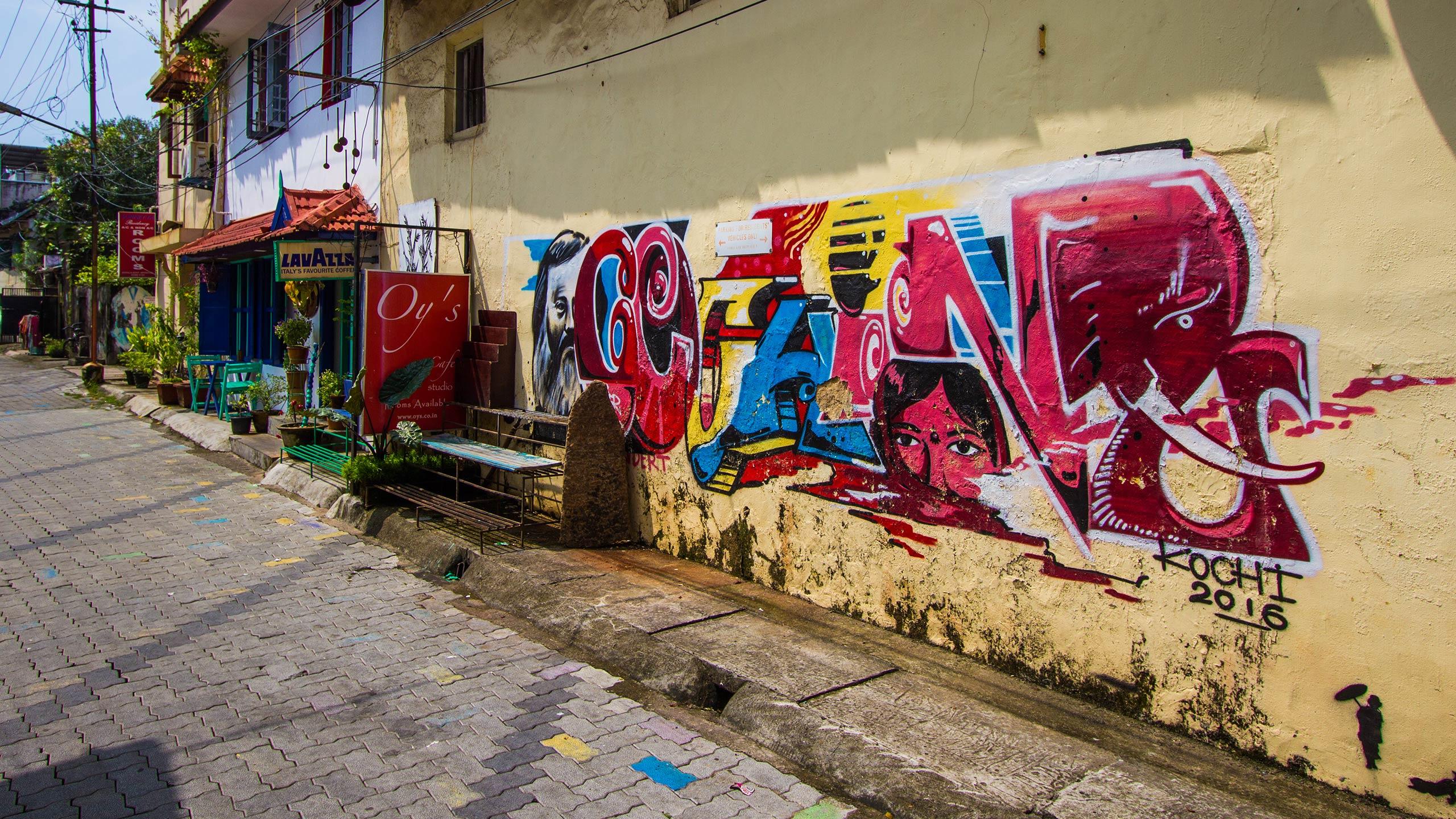 Street art on Berger Street, Fort Kochi, Kerala, India